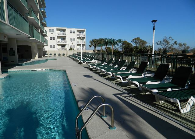 Plenty of poolside and lazy river seating