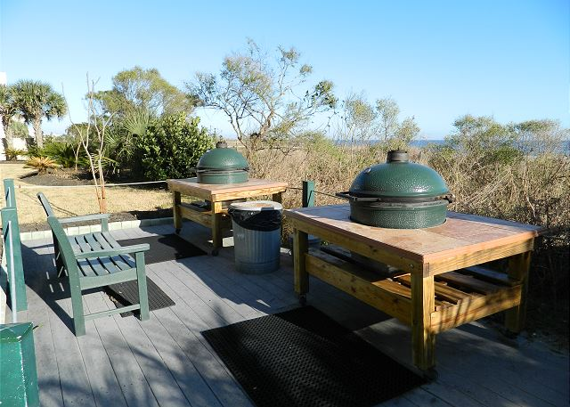 The latest in grilling -- the Green Egg grills for your use and create beach BBQ!