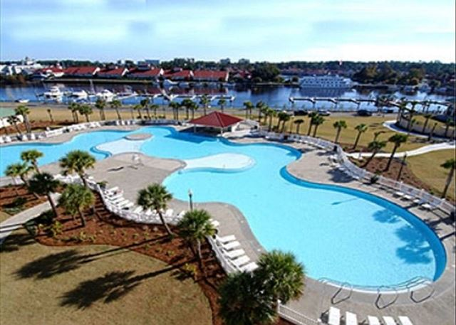 View of the largest outdoor pool in South Carolina.  One of the great amenities waiting for you at the North Tower resort.