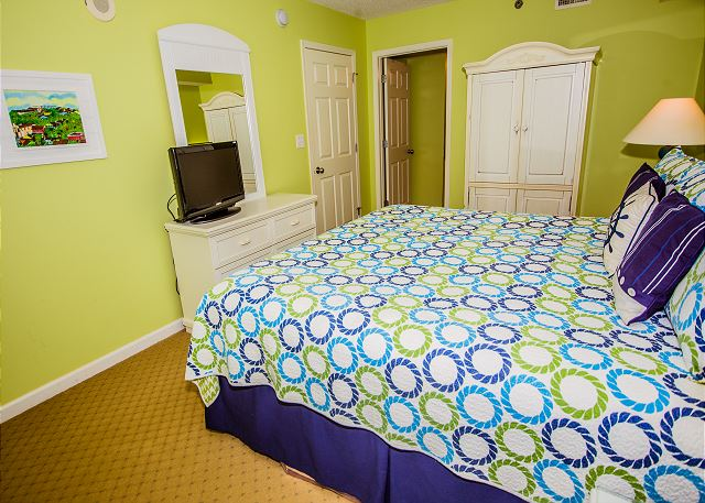 Guest bedroom with a king bed, flat screen tv and a  private en-suite bath.  All bed and bath linens provided during your stay.