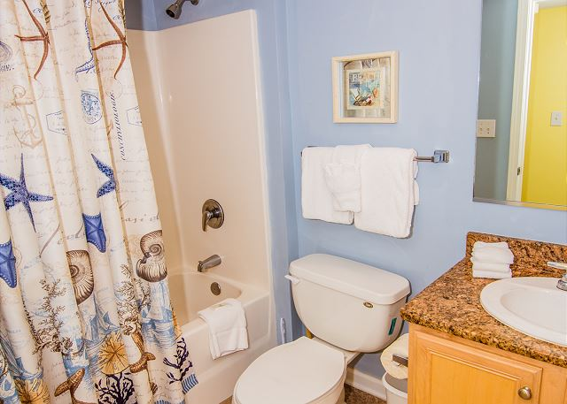 Beautifully decorated guest bathroom.