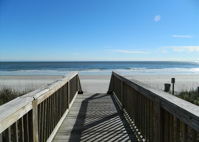 Just steps down the walkway to the most beautiful beaches on the Grand Strand