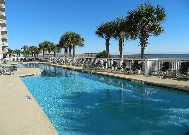 Beautiful resort style pool at Crescent Shores overlooking the dunes.