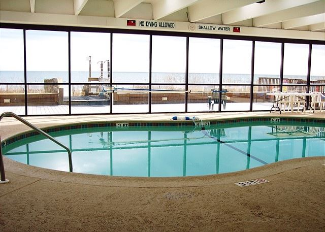 No matter the weather, you can always enjoy this great indoor heated pool and hot tub