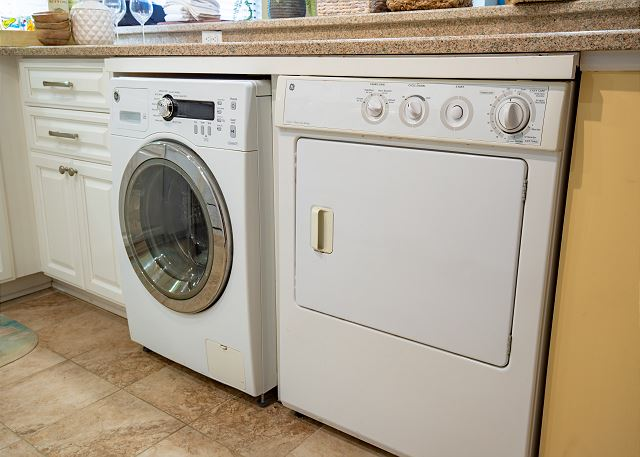 here are full sized appliances and a washer & dryer in the unit.
