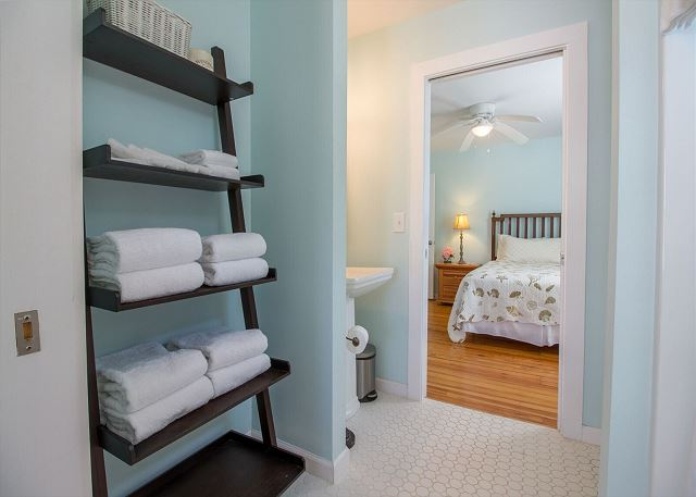 Your bed and bath linens are stocked and ready for your visit.