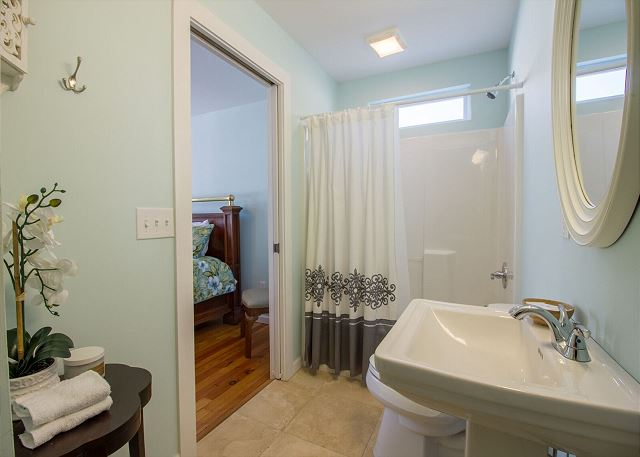 Master bath -- towels and bed linens provided for the entire house during your stay.