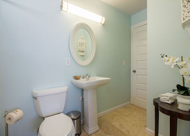 Spacious master bath with tub and shower combo.