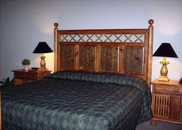 Beautifully furnished in grand style -- master bedroom with king bed