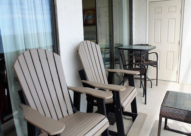New balcony furniture.  Relax and watch the dolphins play!