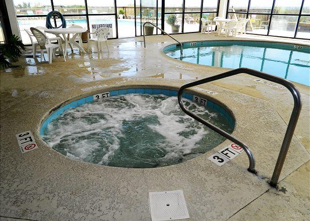 Enjoy soaking in the indoor hot tub