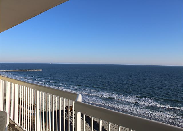 Blue sky meets blue horizon for miles from your private balcony.