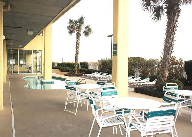 Resort accommodations at the ocean front pool and sundeck.