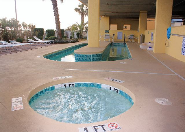 Enjoy a cool dip int the lazy river after a hot day in the sun!  Kiddie pool for the little ones.