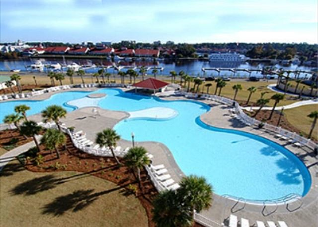 Barefoot Resort main pool, view of the intracoastal, marina and beyond