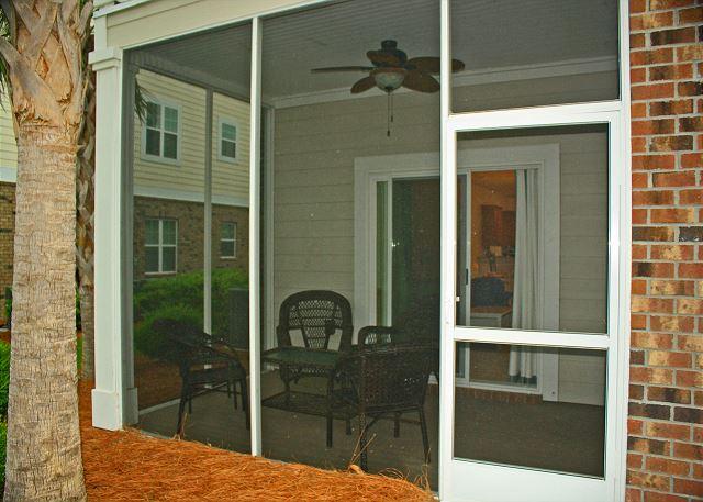 Rear screened in patio with ceiling fan
