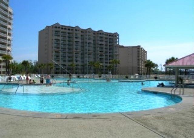 Your bonus amenity is the giant salt water pool at Barefoot Landing's main resort pool