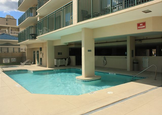 Partially covered outdoor pool
