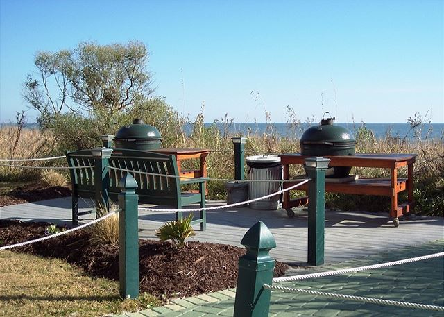 Green Egg smoker/grills for a great cook-out at the beach