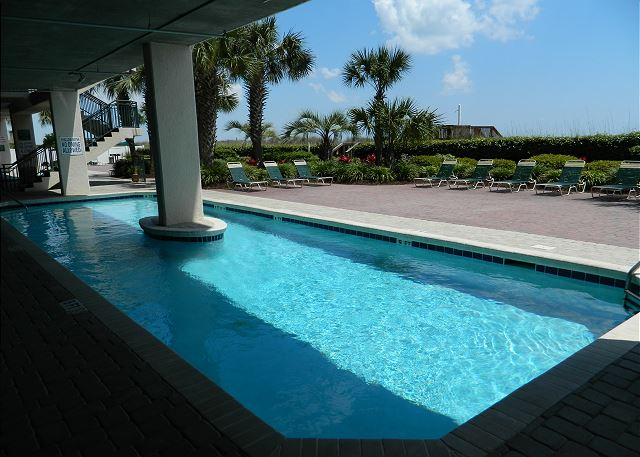 Partially shaded outdoor pool