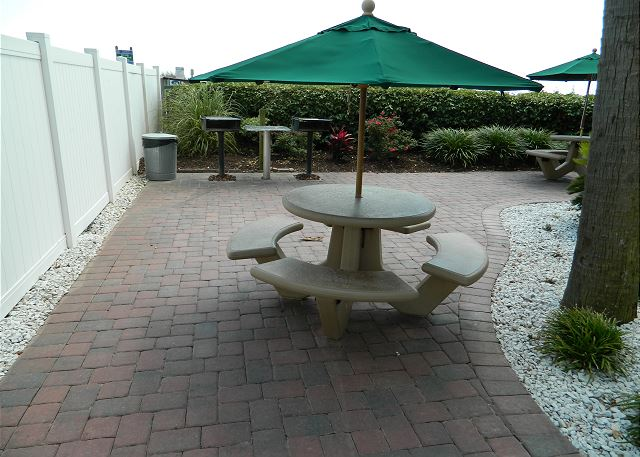 Picnic area with charcoal grilling stations. Perfect for a family cook out at the beach!