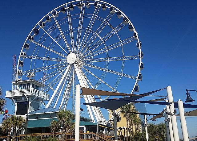 Take a ride on the Skywheel, offering sweeping views of the area