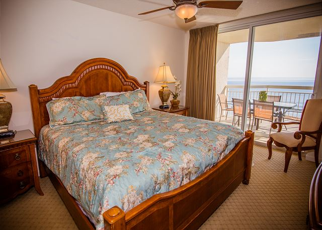 Ocean front master with king bed and balcony access. Your luxury vacation awaits you and bed and bath linens are included.