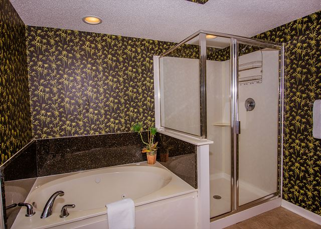 Roomy master with separate shower and jetted tub.  Pamper yourself with a home spa soak.  All bath linens are included during your stay.