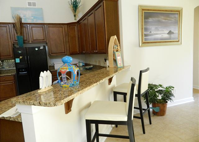 Granite Breakfast Bar with seating for 2