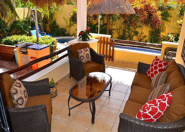 Spacious private outdoor lounge area for the villa guest.