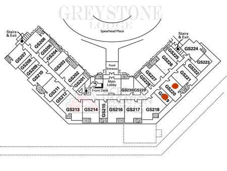 Location of 220 in Greystone Lodge