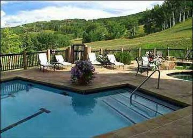 Summer view from the hot tub...serene mountain vistas, aspen groves and hiking trails