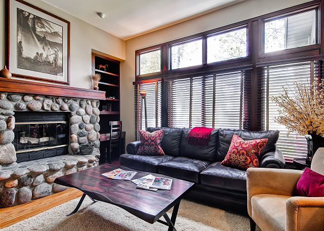 Wood burning fireplace, ski slope views and a comfortable inviting decor await your next visit!