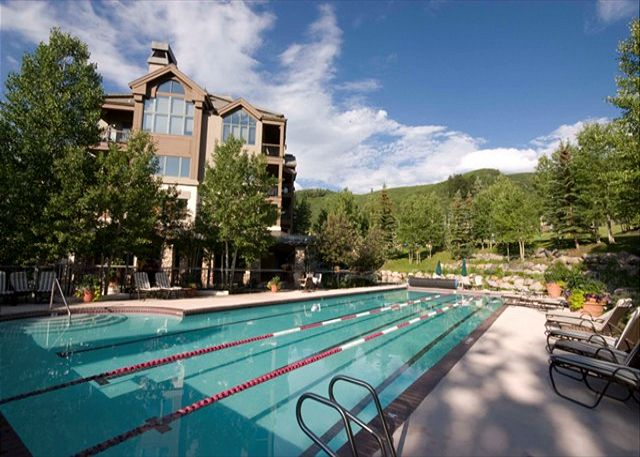 Full-size pool and hot tubs, open year-'round, are just steps from your door.