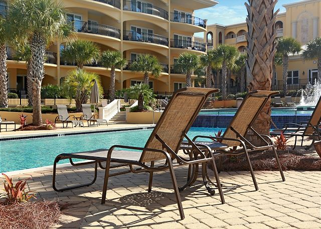 Sit poolside while on vacation!  Here's your chair waiting for you!