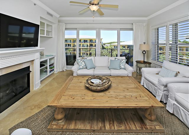 Living Room with plenty of space to play games with all the family!  Condo comes with a few games for your enjoyment.