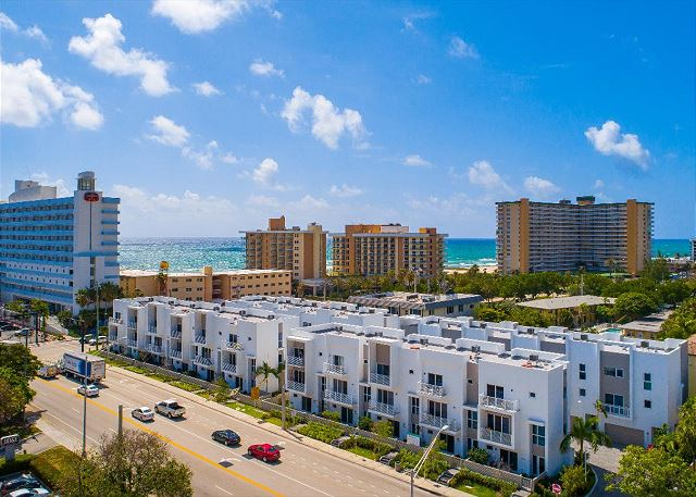 Perfect Pompano Beach location across from the beach, oceanfront restaurant and Tiki bar.