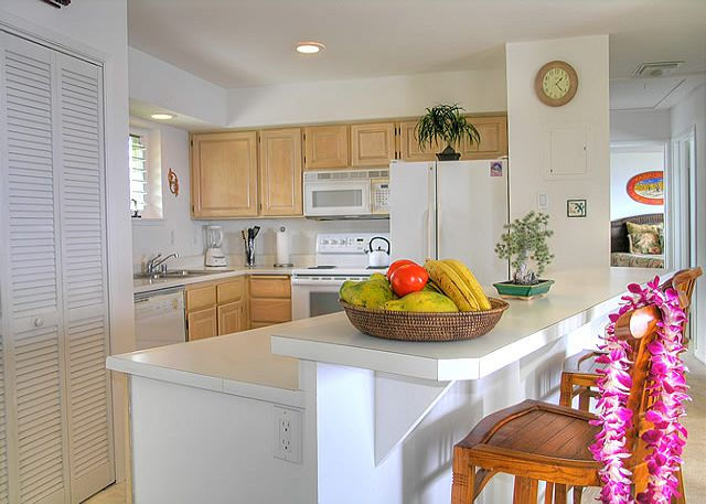 Fully equipped and well stocked kitchen, with breakfast bar for two.