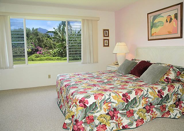 Mountain view master bedroom with King size bed.