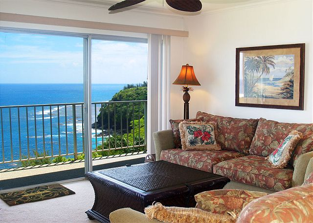 Recently remodeled ocean view living room at Alii Kai 4303.  Top floor condo!