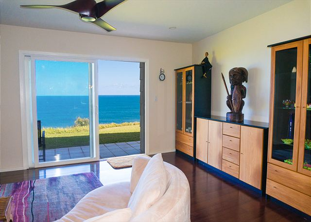 Ocean view living room.  Recently remodeled with beautiful wood flooring!