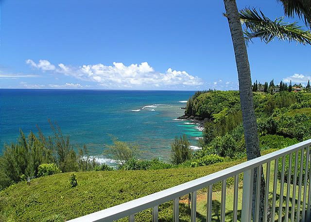 A view down the coastline from your private balcony
