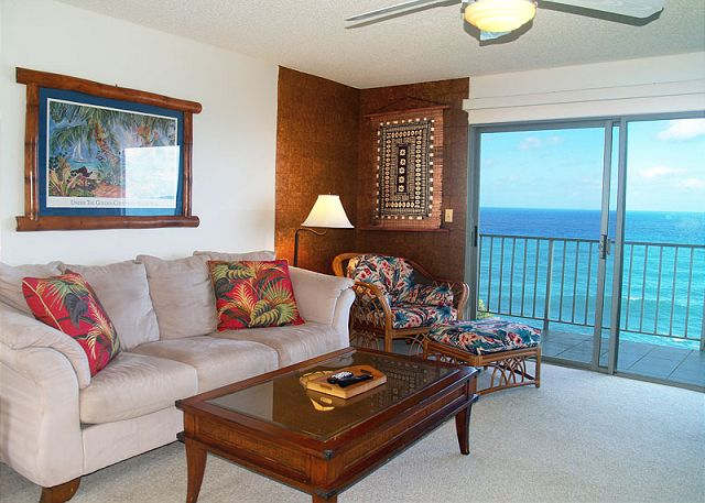 Living room with perfect ocean view!