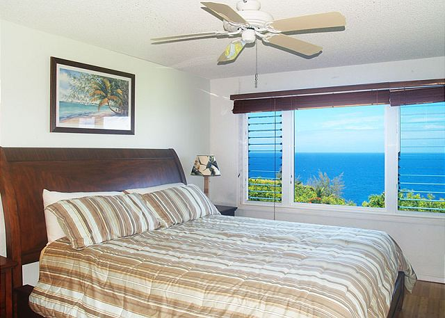 Ocean view master bedroom with California King bed.