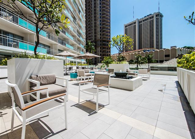 Seating area on the pool deck