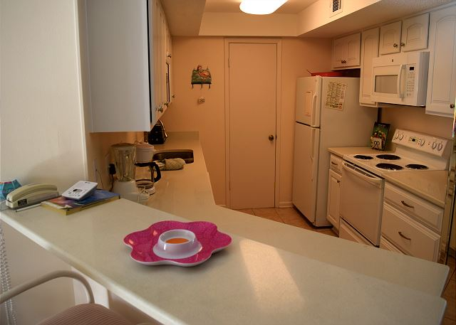 Kitchen with plenty of space for moving around.