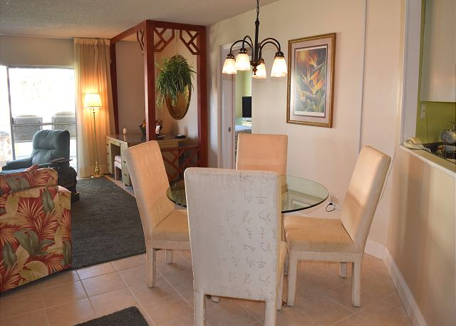 Dining area with very comfortable seating for four.