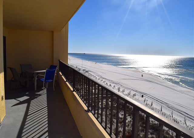 HUGE balconies here at the Surf Dweller. You would think we were in Texas!