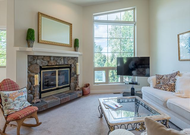 Living Room Fireplace & Big Windows