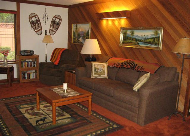 Living Room Queen Sleeper Sofa ( Lazy Boy Airbed)Flat Screen TV And Wood  Burning